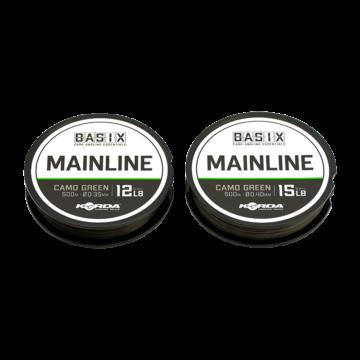 Korda BASIX Main Line 12lb/15lb - főzsinór camo zöld színben 500 méter 0,35 mm/0,40 mm