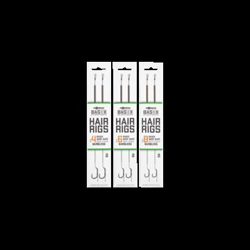 Korda BASIX Ready Tied Hair Rigs Wide Gape 4/6/8 Barbless - hajszállal kötött szakáll nélküli kész horogelőkék 4, 6, 8-as Wide Gape horoggal
