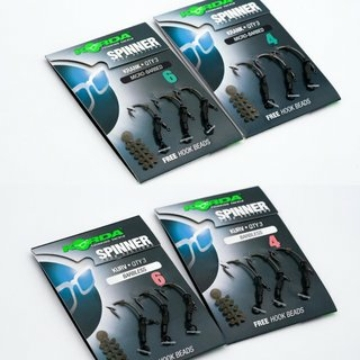 Korda Spinner Hook Sections Kurv SIze 6 - mikro szakállas előkötött horog 6-os méretben