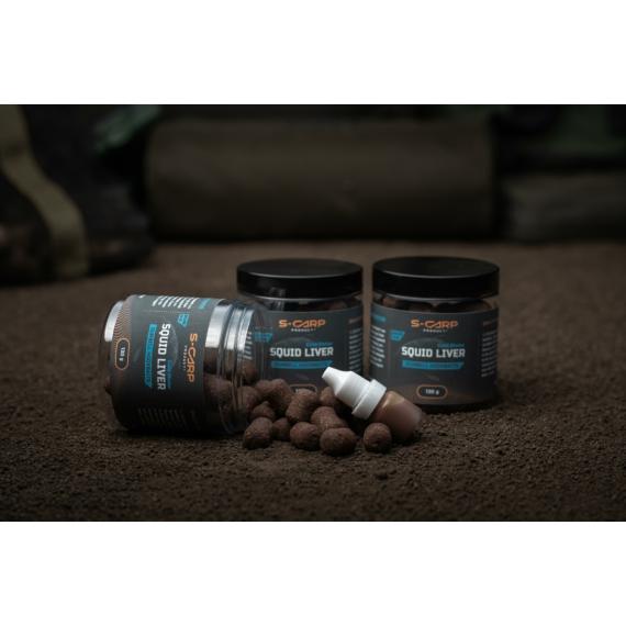 S-Carp Product Squid Liver - Cold Water - Hookbait & Activator - dumbell (súlyzó) formájú csalizó bojlik
