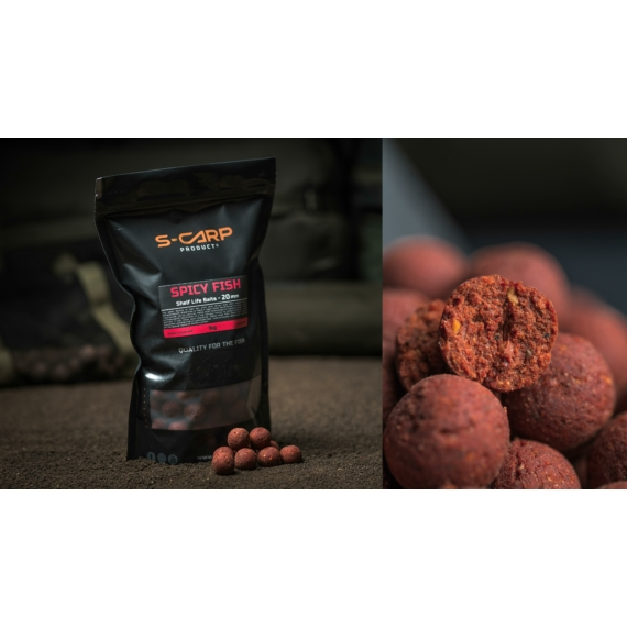 S-Carp Product Spicy Fish Boilie 20mm- Spicy Fish bojli 1 kg