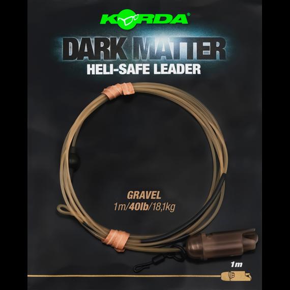 Korda Dark Matter Heli-Safe Leader Weed/Gravel/Clear 40lb - tungsten leader Heli Safe rendszerrel 3 féle színben 1 méter