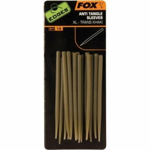 Fox Edges Anti Tangle Sleeve XL Khaki - gubancgátló előkéhez áttetsző barna színben