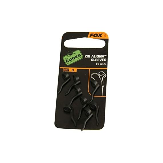 Fox Zig Aligna Sleeves x 8 Black - fekete horogbeforító 8 db zig horgászathoz