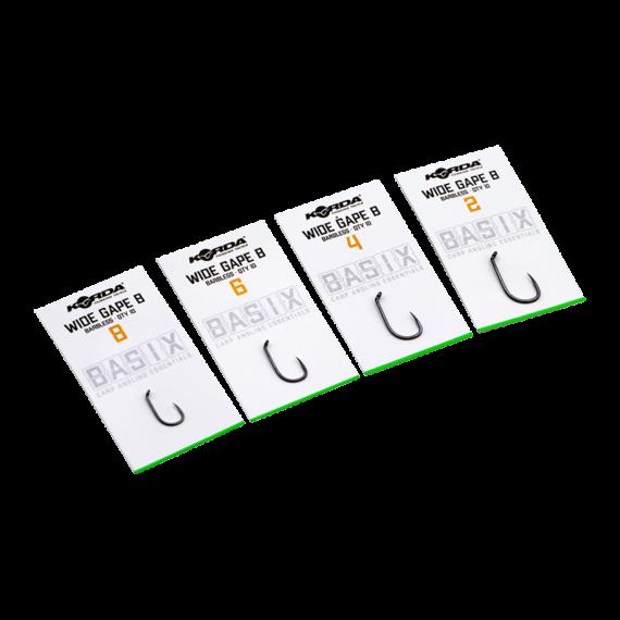 Korda BASIX Wide Gape Hooks Micro Barbless Size 2/4/6/8 - szakáll nélküli  Wide Gape horgok 2, 4, 6, 8-as méretekben