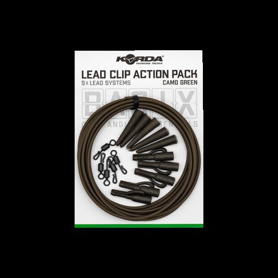 Korda BASIX Lead Clip Action Pack - ólomklipsz gubancgátlóval QC forgóval 5 db-os szett