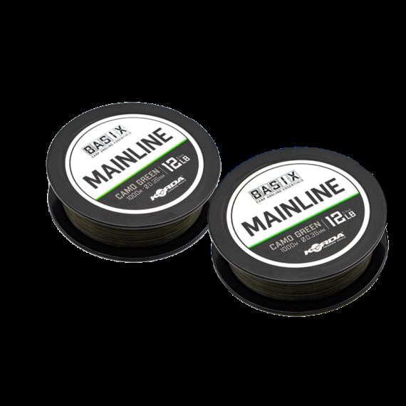 Korda BASIX Main Line 12lb/15lb - főzsinór camo zöld színben 1000 méter 0,35 mm/0,40 mm