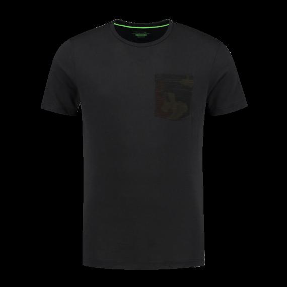Korda LE Kamo Pocket Tee Black S-XXXL - fekete póló S-XXXL-es méretekben