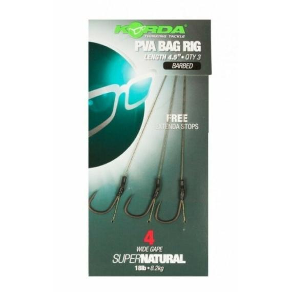 Korda Solidz PVA Bag Rig Size 4 Wide Gape 18lb - szakállas előkötött 4-es horog PVA zacskóhoz
