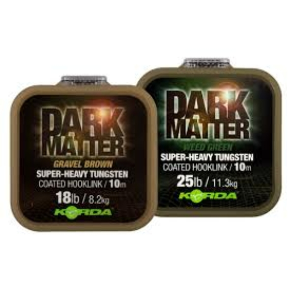 Korda Dark Matter Tungsten Coated Braid  18-25lb - bevonatos ,nehezített, előkezsinór Gravel brown (sóder) és Weed green (növényzet) színben