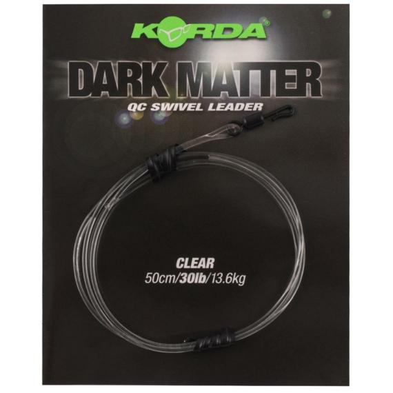 """Korda Dark Matter QC Swivel Leader 40lb Clear- leadcore helyetesítő gubacgátló """"áttetsző"""" színben"""