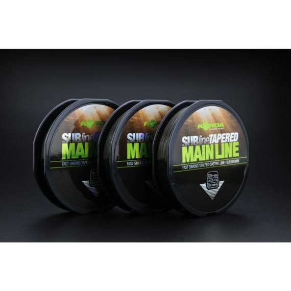 Korda SUBline Tapered Mainline 8lb,10lb,12lb-40lb - vastagodó monofil főzsinór 0,28 vagy 0,30 vagy 0,33-0,50mm-ig 300m