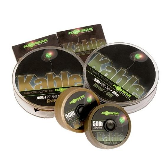 """Korda Kable Leadcore Weed / Silt  - leadcore gubancgátló """"iszap"""" színben 7 vagy 25 méteres"""
