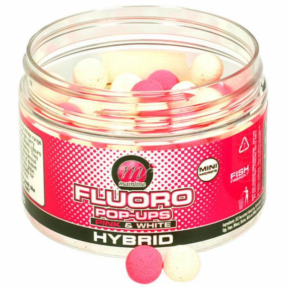 """Mainline Pink & White Pop-ups Hybrid - 14mm-es lebegő bojli """"Hybrid"""" ízesítéssel"""