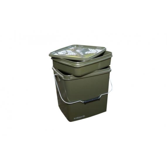 Trakker 13 Litre Olive Square Container - 13 liters szögletes műanyag vödör, belső tálcával