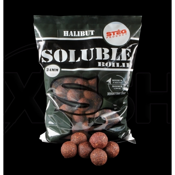 Stég Product Soluble Boilie 24mm Halibut - lapos hal ízesítésű gyosan oldódó bojli 1kg