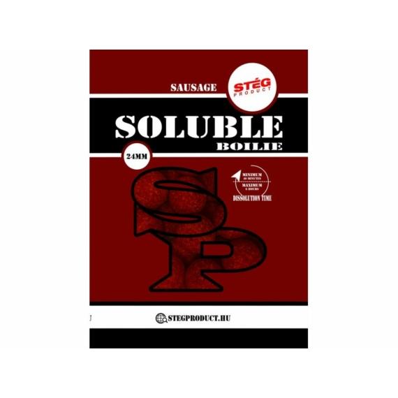 Stég Product Soluble Boilie 24mm Sausage - kolbász ízesítésű gyosan oldódó bojli 1kg